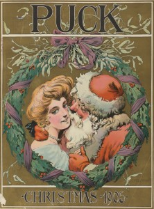 An Amorous Santa from the cover of Puck Magazine (1905)