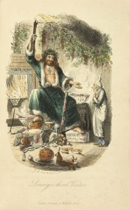 The Ghost of Christmas Present by John Leech, commissioned by Dickens for A Christmas Carol, 1843
