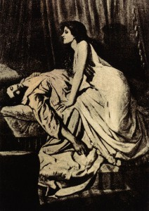 """The Vampire"" by Philip Burne-Jones (1897) is an early femme fatale"