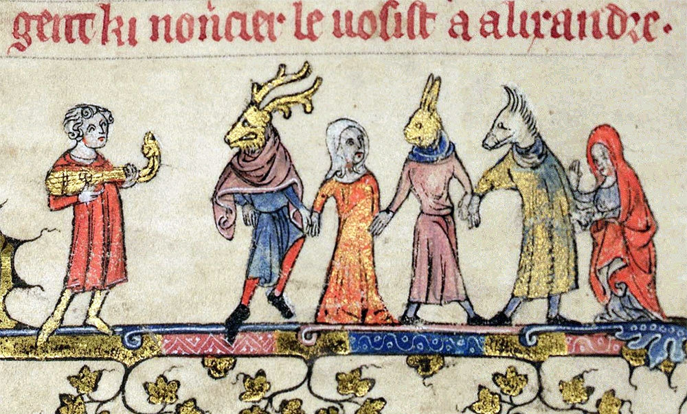 Mummers in 14th c. Illuminated Manuscript