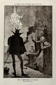 Faust making a pact with the devil, lithograph, 1885