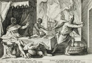 Zeus turning Lycaon into a wolf (engraving by Hendrik Goltzius, 1589)
