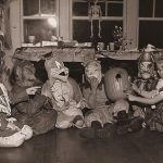 Kids at a Halloween party in the 1950s